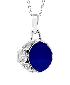 With You Lockets Kiera Blue Enamel and Diamond Accent Photo Locket Necklace in Sterling Silver (Also Available in Pink Enamel)