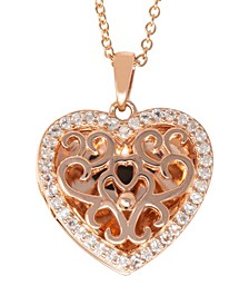 Mary White Topaz (1/5 ct. t.w.) Photo Locket Necklace in 14k Yellow Gold over Sterling Silver (Also Available in 14k Rose Gold over Sterling Silver)