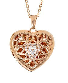 With You Lockets Katherine White Topaz (1/2 ct. t.w) Photo Locket Necklace in 14k Gold over Sterling Silver (Also Available in 14k Rose Gold over Sterling Silver
