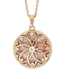 With You Lockets Helen White Topaz (3/8 ct. t.w.) Photo Locket Necklace in 14k Yellow Gold over Sterling Silver (Also Available in 14k Rose Gold over Sterling Silver)