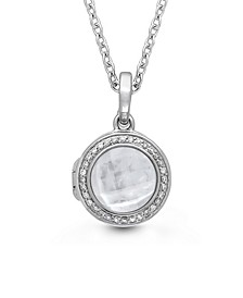 Mickey Mother of Pearl and Quartz Doublet (14mm) with Diamond (1/4 ct. t.w.) Photo Locket Necklace in Sterling Silver