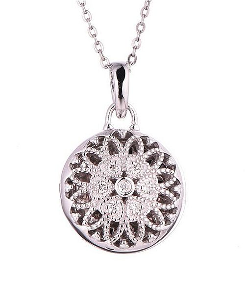 With You Lockets Laney Diamond (1 ct. t.w.) Photo Locket Necklace in Sterling Silver