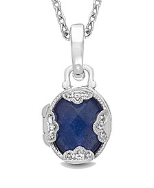 Gia Blue Lapis (4-1/2 ct. t.w.) with White Topaz Accent Photo Locket Necklace in Sterling Silver