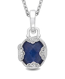 With You Lockets Gia Blue Lapis (4-1/2 ct. t.w.) with White Topaz Accent Photo Locket Necklace in Sterling Silver