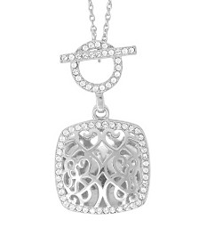 With You Lockets Amelia Photo Toggle Locket Necklace with Swarovski Crystals in Sterling Silver