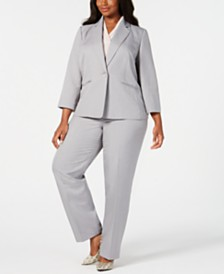 Le Suit Plus Size Single-Button Pantsuit