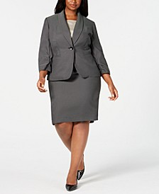 Plus Size Single-Button Dot Skirt Suit