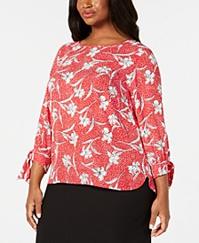 Plus Size Printed Tie-Sleeve Blouse