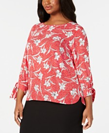 Nine West Plus Size Printed Tie-Sleeve Blouse