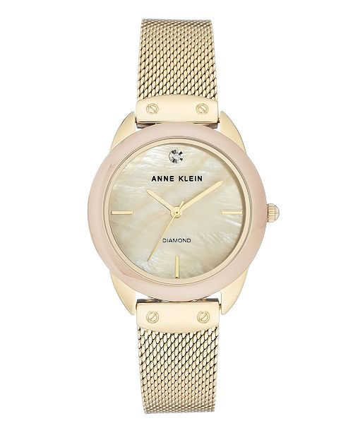 Anne Klein Genuine Mother of Pearl Dial with A Genuine Diamond Watch