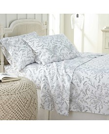 Southshore Fine Linens Winter Brush Floral Printed 4 Piece Sheet Set, King