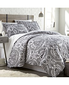 Pure Melody Classic Paisley 3 Piece Reversible Comforter Set, King/California King