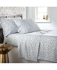 Southshore Fine Linens Geometric Maze 4 Piece Printed Sheet Set, Full