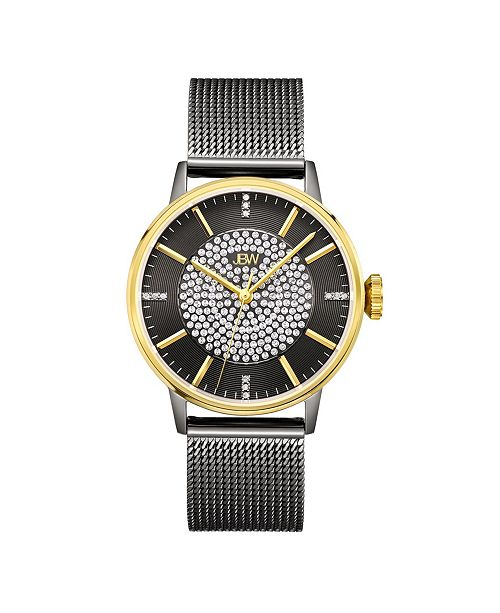 Jbw Women's Belle Diamond (1/8 ct.t.w.) Black Ion-Plated Stainless Steel Watch