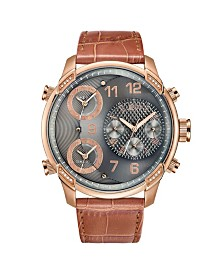 JBW Men's G4 Diamond (1/6 ct.t.w.) 18K Rose Gold Plated Stainless Steel Watch