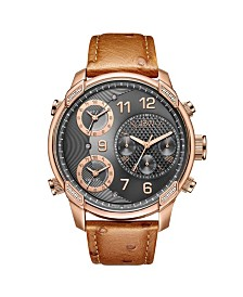 JBW Men's Limited Edition G4 Leather Diamond (1/5 ct.t.w.) 18K Rose Gold Plated Stainless Steel Watch