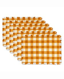 Pumpkin Spice Heavyweight Check Fringed Placemat Set of 6