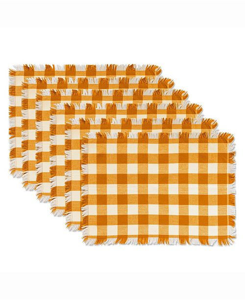 Design Import Pumpkin Spice Heavyweight Check Fringed Placemat Set of 6