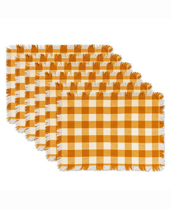 Design Imports Pumpkin Spice Heavyweight Check Fringed Placemat Set of 6