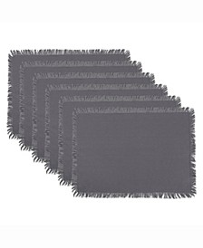 Solid Gray Heavyweight Fringed Placemat Set of 6