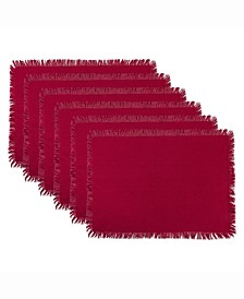 Solid Wine Heavyweight Fringed Placemat Set of 6