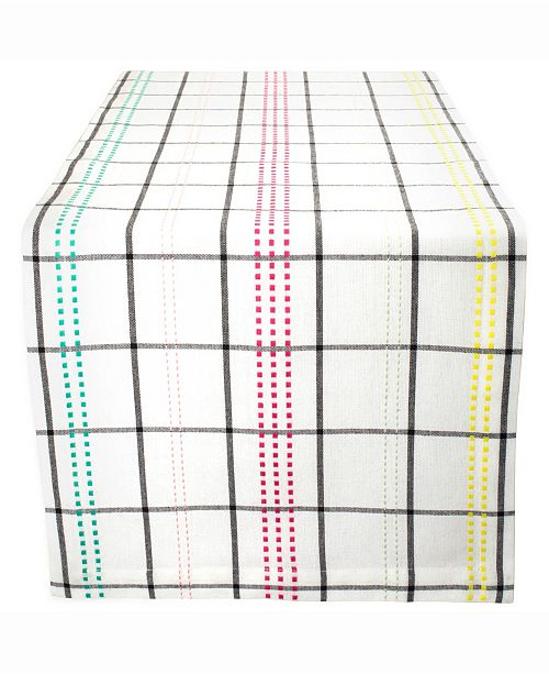 "Design Imports Color Pop Plaid Table Runner 14"" X 72"""