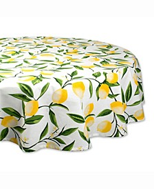 "Lemon Bliss Print Table cloth 70"" Round"