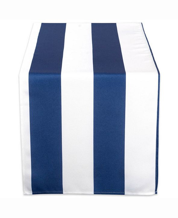 """Design Imports Nautical Blue Cabana Stripe Outdoor Table Runner 14"""" X 72"""""""