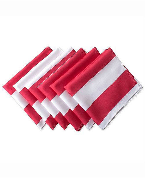 Design Imports Coral Cabana Stripe Print Outdoor Napkin Set of 6