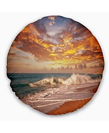 """Designart 'Waves Under Colorful Clouds' Seashore Throw Pillow - 16"""" Round"""
