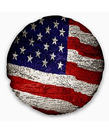 "Designart 'Large American Flag Watercolor' Abstract Throw Pillow - 16"" Round"