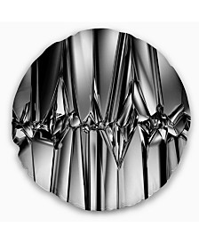 "Designart 'Black White Crystal Background' Abstract Throw Pillow - 16"" Round"