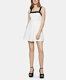 Contrast-Trim Fit & Flare Dress