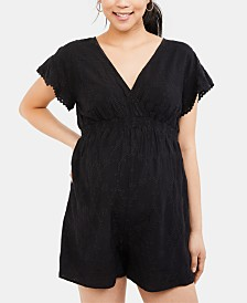 Motherhood Maternity Embroidered Romper
