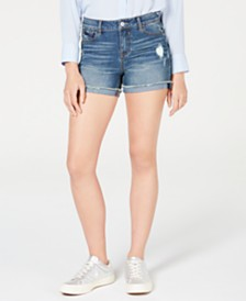 Vanilla Star Juniors' Mid-Rise Cuffed Jean Shorts