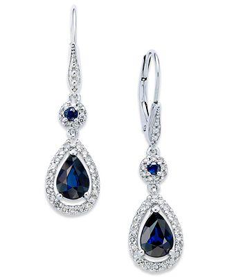 Sapphire 1 3 4 ct t w and Diamond 1 3 ct t w Drop Earrings