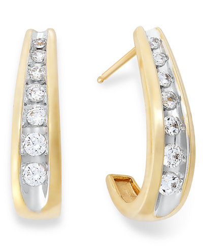 Channel-Set Diamond J Hoop Earrings in 14k Gold (1/4-1/2 ct. t.w.)