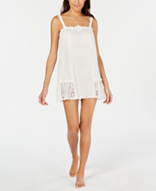 Linea Donatella Lace Trim Clip Dot Chemise Nightgown