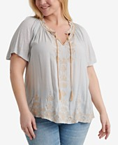 231d577fac2fdc Lucky Brand Plus Size Embroidered Peasant Top
