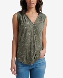 Lucky Brand Printed Appliqué Sleeveless Henley Top