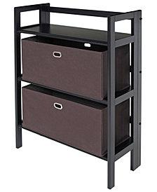 Torino 3-Pc Set Folding Bookcase with Fabric Basket