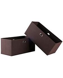 Torino 2-Pc Set Folding Fabric Baskets Chocolate