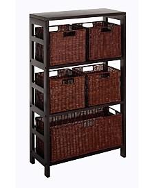 Winsome Leo 6Pc Shelf and Baskets, Shelf, 4 Small and 1 Large Baskets, 3 Cartons