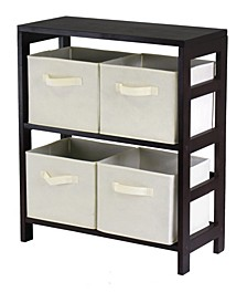 Capri 2-Section M Storage Shelf with 4 Foldable Fabric Baskets
