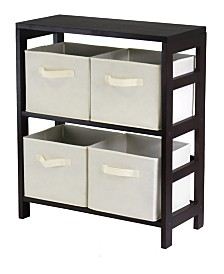 Winsome Capri 2-Section M Storage Shelf with 4 Foldable Fabric Baskets