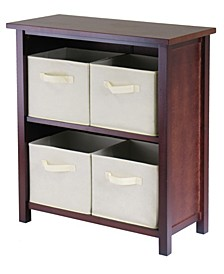 Verona 2-Section M Storage Shelf with 4 Foldable Beige Fabric Baskets