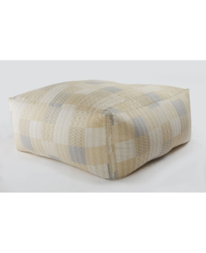 Lr Resources Inc. Oversized Kantha Pouf In Cream