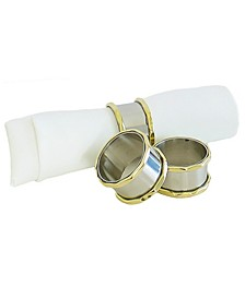 Set of 4 Stainless Steel Napkin Holders with Gold Border