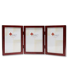 """Hinged Triple Walnut Wood Picture Frame - Gallery Collection - 5"""" x 7"""""""