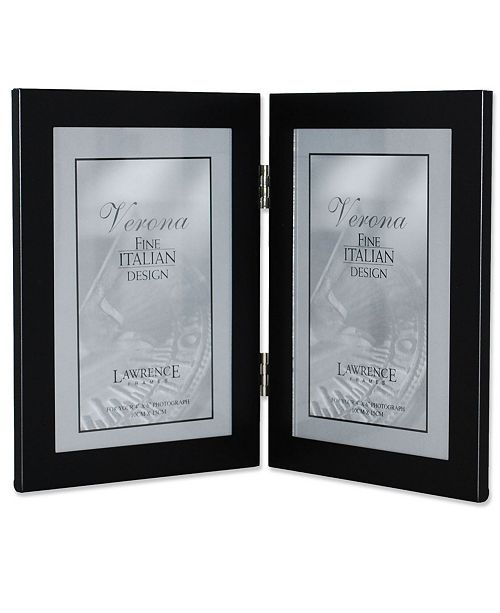 """Lawrence Frames Black Hinged Double Metal Picture Frame - 4"""" x 6"""""""